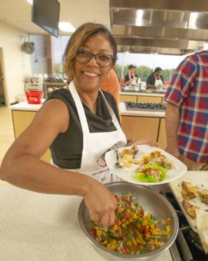 Staff serving food